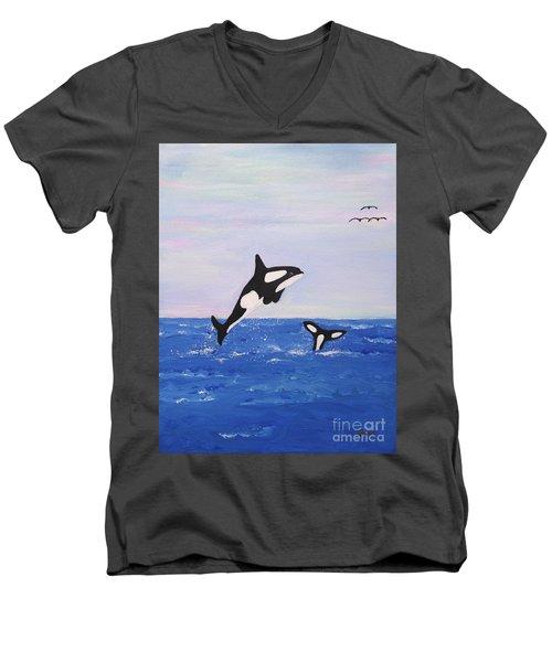 Orcas In The Morning Men's V-Neck T-Shirt