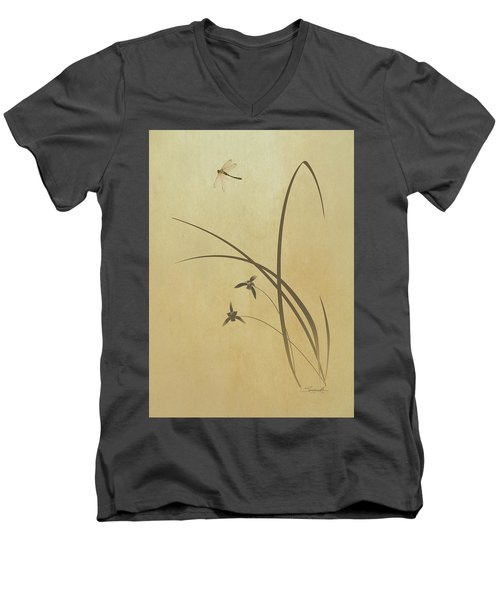 Orchid And Dragonfly Men's V-Neck T-Shirt