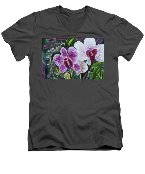 Men's V-Neck T-Shirt featuring the painting Orchid At Aos 2010 by Donna Walsh