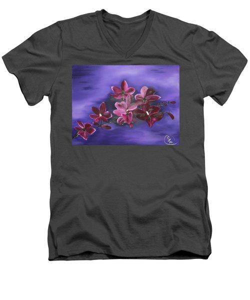 Orchid Blossoms On A Stem Men's V-Neck T-Shirt
