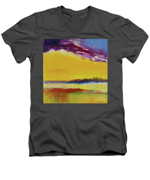 Men's V-Neck T-Shirt featuring the painting Orchid Sky by Robin Maria Pedrero