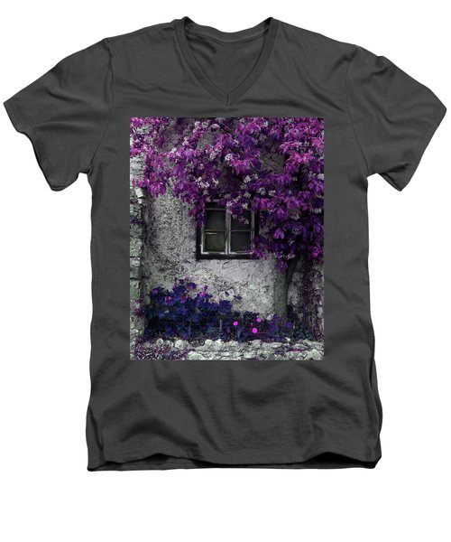 Orchid Vines Window And Gray Stone Men's V-Neck T-Shirt by Brooke T Ryan