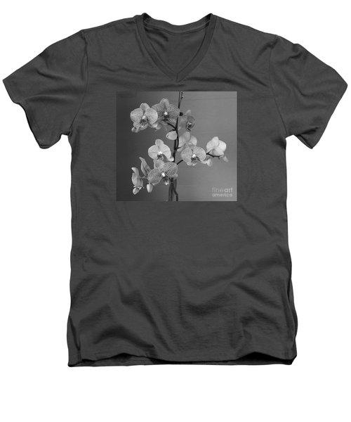 Orchids Black And White Men's V-Neck T-Shirt