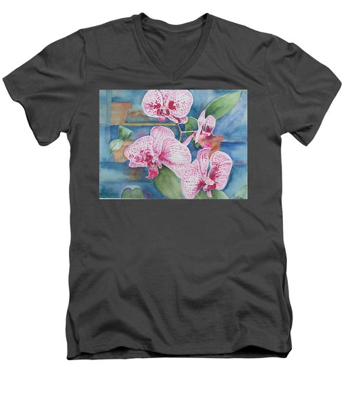 Orchids Men's V-Neck T-Shirt by Christine Lathrop