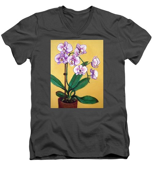 Men's V-Neck T-Shirt featuring the painting Orchids by Laura Aceto
