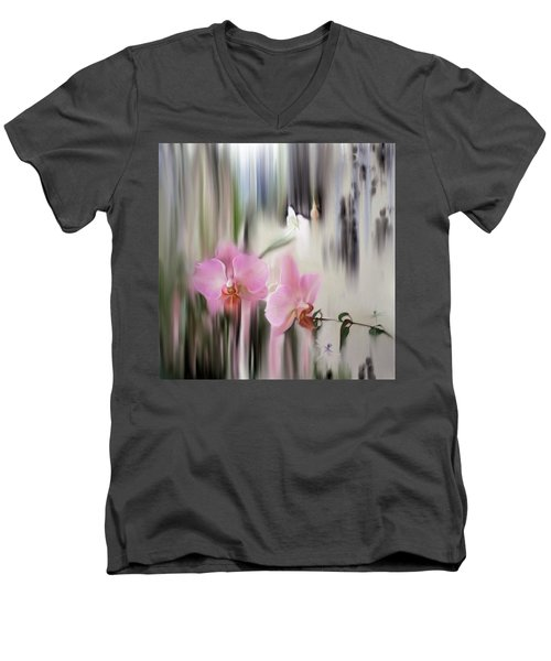 Orchids With Dragonflies Men's V-Neck T-Shirt