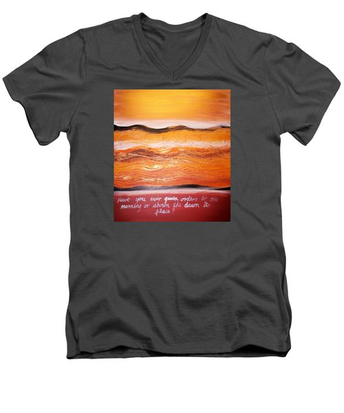 Men's V-Neck T-Shirt featuring the painting Orders To The Morning by Winsome Gunning