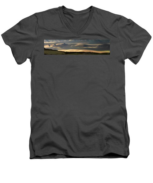 Men's V-Neck T-Shirt featuring the photograph Oregon Canyon Mountain Layers And Textures by Leland D Howard