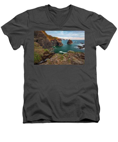 Oregon Coastal Scenic Men's V-Neck T-Shirt by Leland D Howard