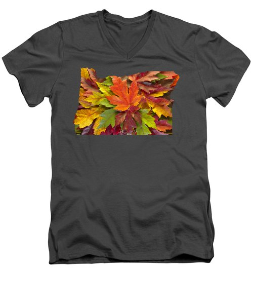 Oregon Maple Leaves Mixed Fall Colors Background Men's V-Neck T-Shirt