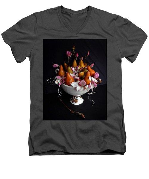 Organic Bosc Pears And Magnolia Blossoms Men's V-Neck T-Shirt