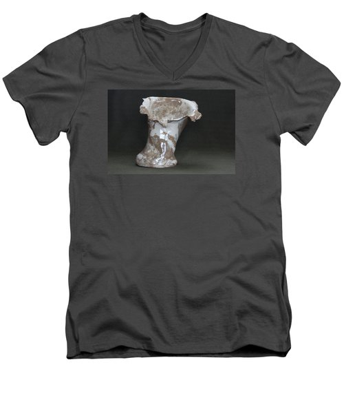Organic Marbled Clay Ceramic Vase Men's V-Neck T-Shirt by Suzanne Gaff