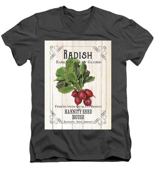 Men's V-Neck T-Shirt featuring the painting Organic Seed Packet 3 by Debbie DeWitt