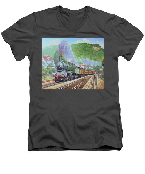 Men's V-Neck T-Shirt featuring the painting Orient Express 1920 by Mike Jeffries
