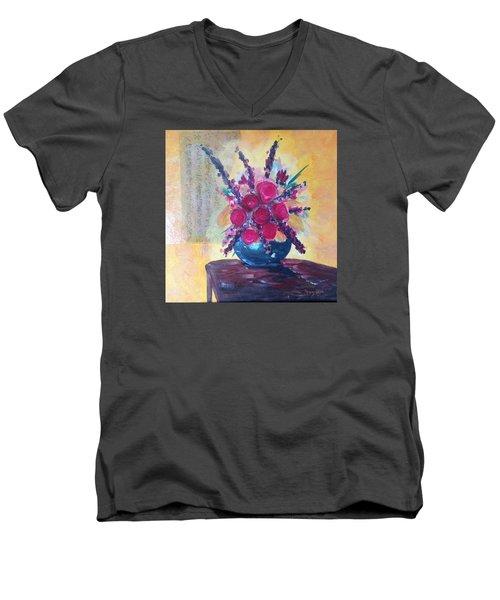 Oriental Arrangement Men's V-Neck T-Shirt by Roxy Rich