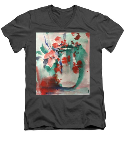 Oriental Brush Flowers And Vase Men's V-Neck T-Shirt by Robin Miller-Bookhout