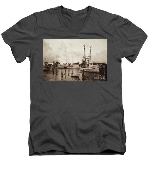 Men's V-Neck T-Shirt featuring the photograph Oriental Harbor by Benanne Stiens