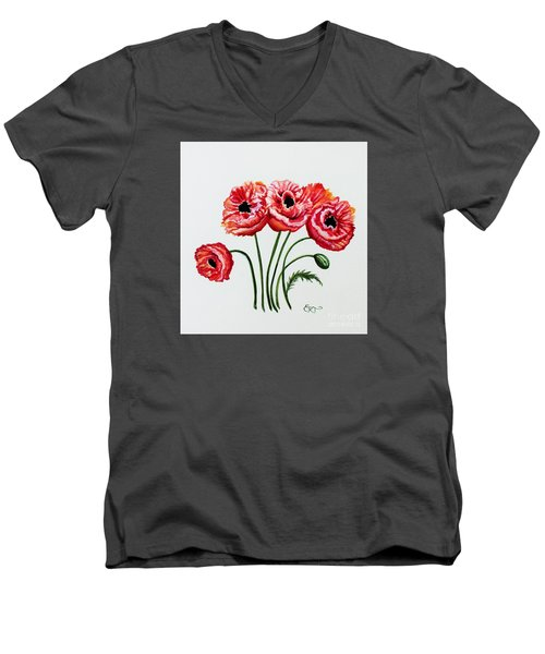 Men's V-Neck T-Shirt featuring the painting Oriental Poppies by Elizabeth Robinette Tyndall
