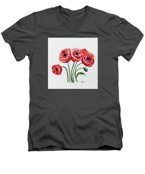 Oriental Poppies Men's V-Neck T-Shirt by Elizabeth Robinette Tyndall