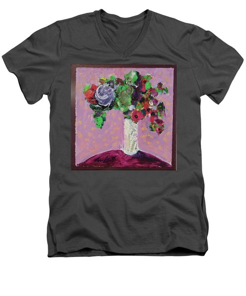 Men's V-Neck T-Shirt featuring the painting Original Bouquetaday Floral Painting 12x12 On Canvas, By Elaine Elliott, 59.00 Incl. Shipping by Elaine Elliott