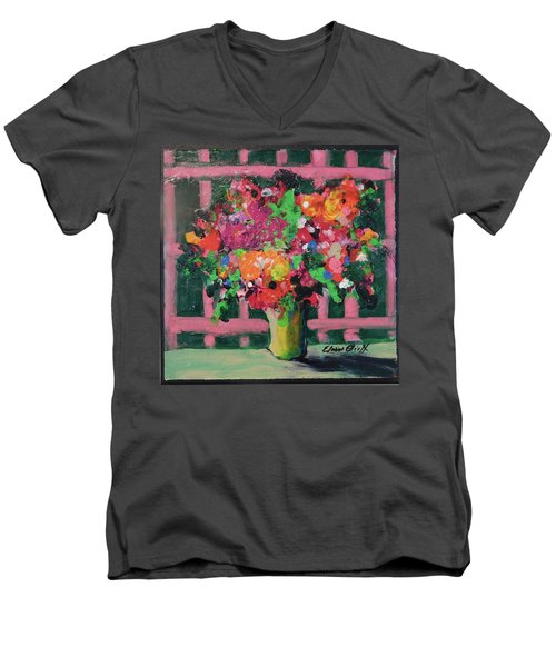 Men's V-Neck T-Shirt featuring the painting Original Bouquetaday Floral Painting By Elaine Elliott 59.00 Incl Shipping 12x12 On Canvas by Elaine Elliott