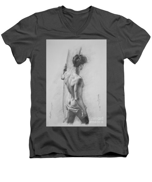 Original Charcoal Drawing Art Male Nude  On Paper #16-3-11-12 Men's V-Neck T-Shirt by Hongtao Huang