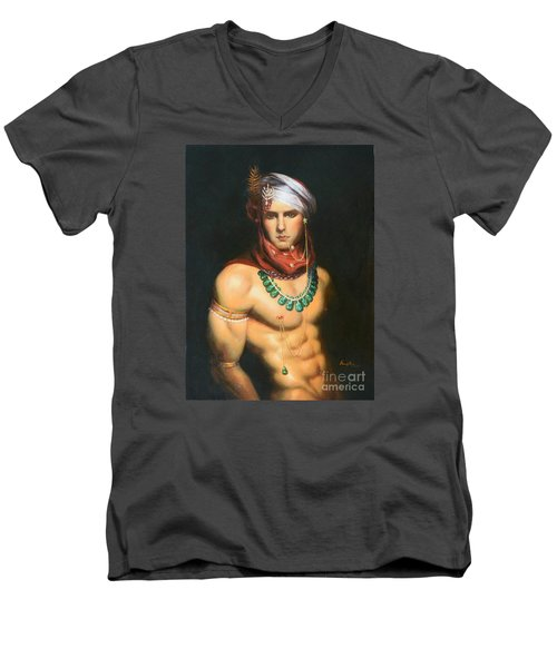 Original Classic Oil Painting Man Body Art-male Nude -068 Men's V-Neck T-Shirt