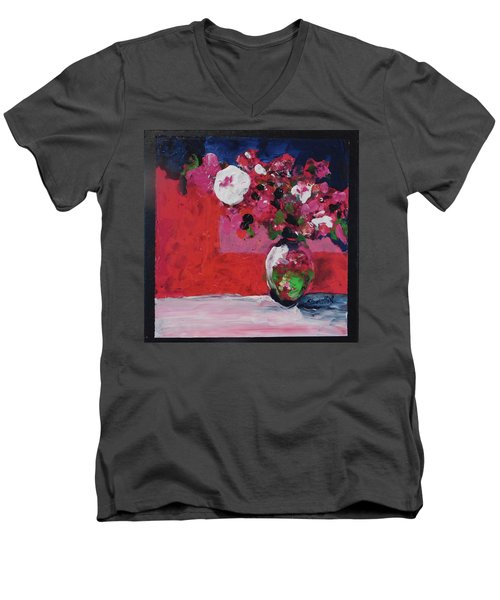 Men's V-Neck T-Shirt featuring the painting Original Floral Painting By Elaine Elliott, 12x12 Acrylic And Collage, 59.00 Incl. Shipping, Contemp by Elaine Elliott