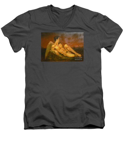 Original Oil Painting Art  Male Nude Of Angel Man On Canvas #11-16-01 Men's V-Neck T-Shirt by Hongtao Huang