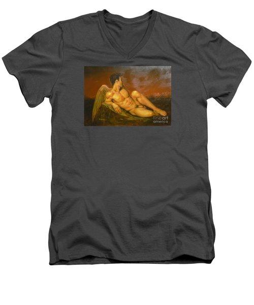 Original Oil Painting Art  Male Nude Of Angel Man On Canvas #11-16-01 Men's V-Neck T-Shirt