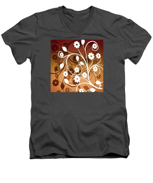 Men's V-Neck T-Shirt featuring the digital art Ornamental 2 Warm by Angelina Vick