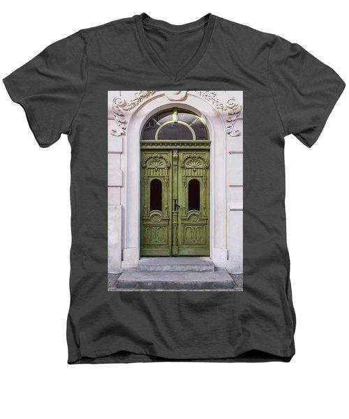 Ornamented Gates In Olive Colors Men's V-Neck T-Shirt by Jaroslaw Blaminsky