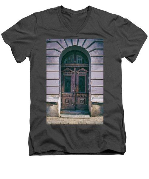 Ornamented Wooden Gate In Violet Tones Men's V-Neck T-Shirt by Jaroslaw Blaminsky