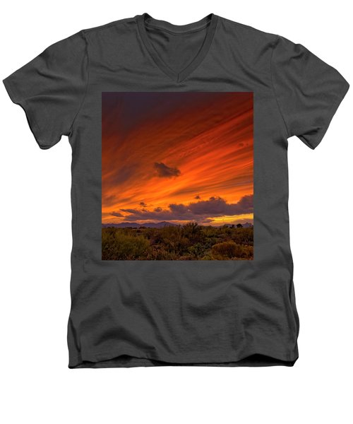 Men's V-Neck T-Shirt featuring the photograph Oro Valley Sunset H6 by Mark Myhaver