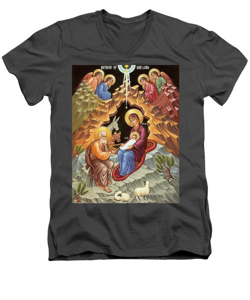 Orthodox Nativity Scene Men's V-Neck T-Shirt