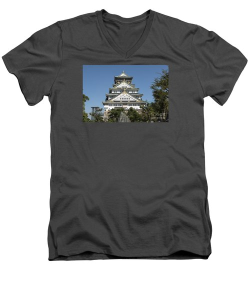 Men's V-Neck T-Shirt featuring the photograph Osaka Castle by Pravine Chester