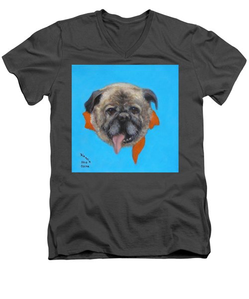 Men's V-Neck T-Shirt featuring the painting Oscar by Donelli  DiMaria