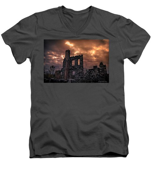 Men's V-Neck T-Shirt featuring the photograph Osler Castle by Michaela Preston