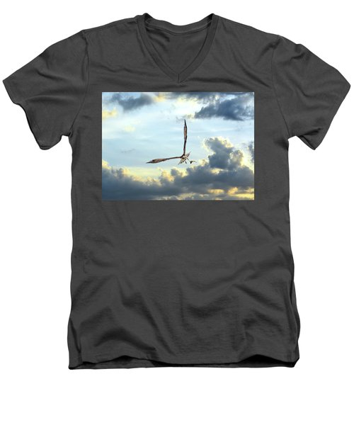 Osprey Flying In Clouds At Sunset With Fish In Talons Men's V-Neck T-Shirt