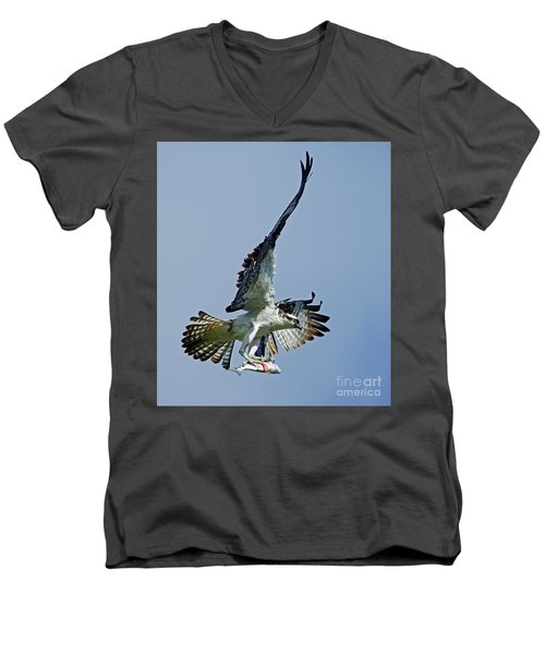 Men's V-Neck T-Shirt featuring the photograph Osprey Success by Larry Nieland