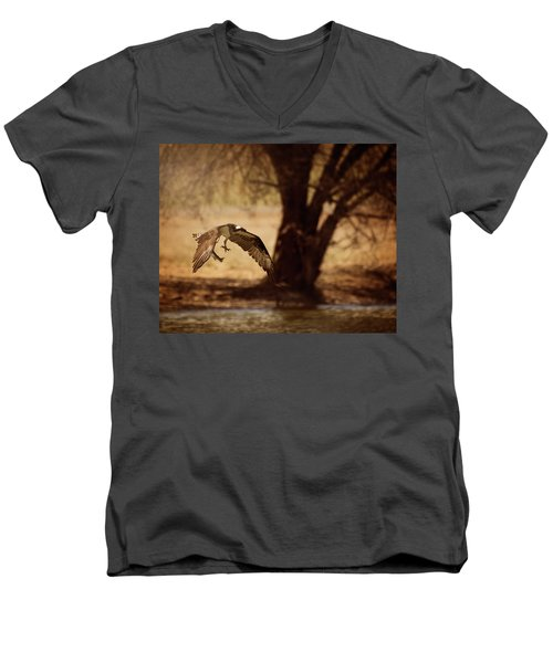 Osprey With Lunch Men's V-Neck T-Shirt