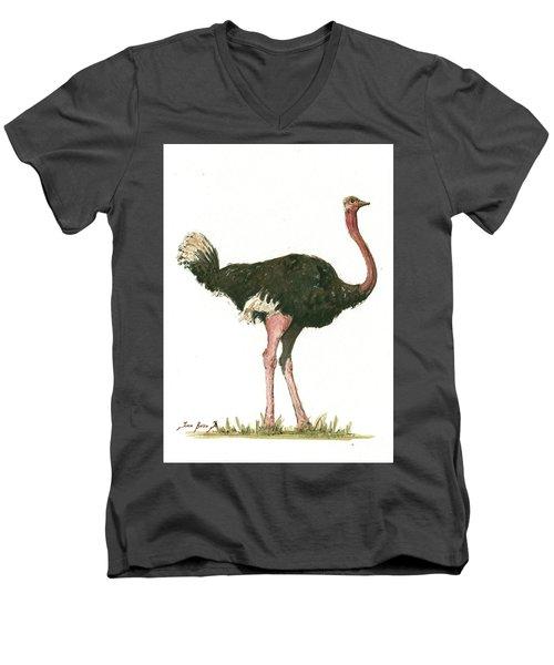Ostrich Bird Men's V-Neck T-Shirt by Juan Bosco
