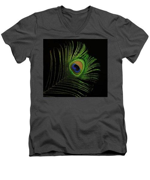 Ostrich Feather Tip Eye Men's V-Neck T-Shirt