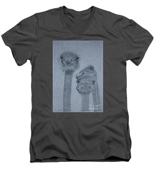 Ostrich Umbrella Men's V-Neck T-Shirt by David Joyner