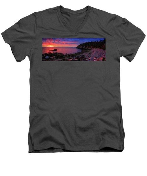Men's V-Neck T-Shirt featuring the photograph Otter Beach Maine Sunrise  by Emmanuel Panagiotakis