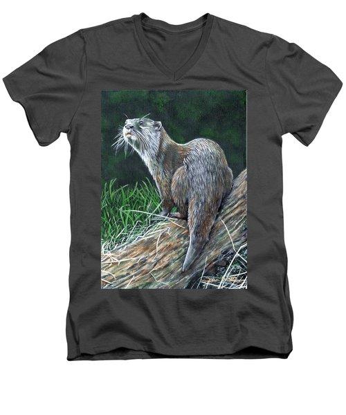 Otter On Branch Men's V-Neck T-Shirt