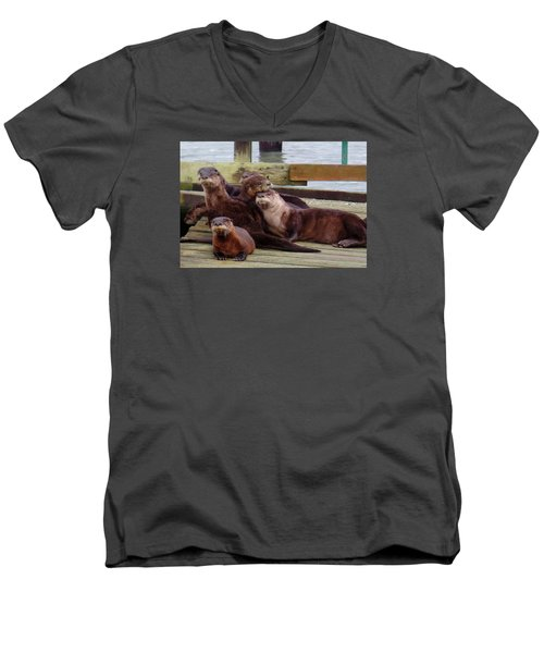 Men's V-Neck T-Shirt featuring the photograph Otter Party In Bellingham by Karen Molenaar Terrell