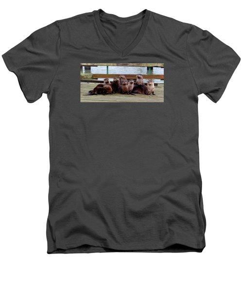 Otters Posing Men's V-Neck T-Shirt