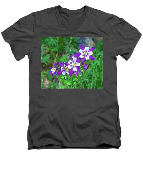 Our Gorgeous State Flower, Colorado Columbine  Men's V-Neck T-Shirt