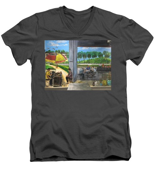 Our Home, Our Community Men's V-Neck T-Shirt by Belinda Low